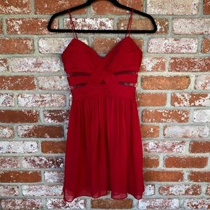 Adrianna Papell Red Chiffon Fit and Flare Dress XS
